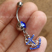 Anchor Belly Button Rings,Navel Jewlery, anchor belly button ring,navy ring, navy blue