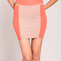 Cut Out Skirt in Taupe/Orange