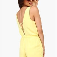 Draw The Line Romper - Yellow