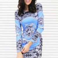 Dress Fierce Print Body Con in Blue