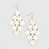 Full Tilt Frosted Facet Flower Chandelier Earrings Ivory One Size For Women 21252616001