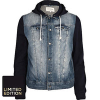 Navy jersey and denim jacket - jackets - coats / jackets - men