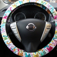 Steering Wheel Cover Colorful Giraffes