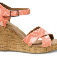 Orange Geometric Ikat Strappy Wedges | TOMS.com
