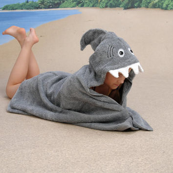 GREY Shark hooded towel by Yikestwins on Etsy