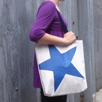 Recycled Sail Tote Bag Blue Star by reiter8 on Etsy