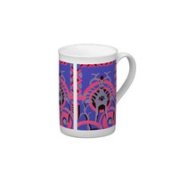 Pink and Purple Vintage Art Deco Animal Bone China Mug from Zazzle.com