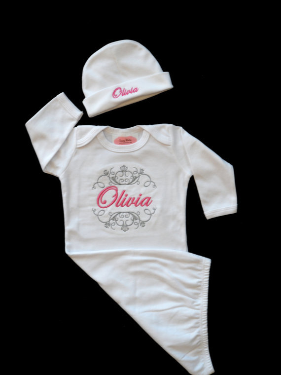 Newborn Take Home Outfit Monogram Layette from LilMamas on