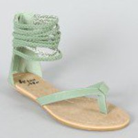 Miss Me Leon-11 Braided Cuff Thong Flat Sandal