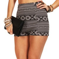 Black/Taupe High Waisted Tribal Shorts