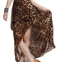 Leopard Print Leaf Hi-Low Dress with Black Strapless Top