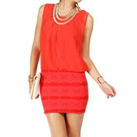 Coral 2fer Sleeveless Short Dress