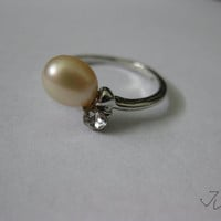 Cream Freshwater Pearl Silver Plated Ring with CZ