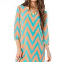 Zig Zag Charm Shift Dress in Peach Mint - ShopSosie.com
