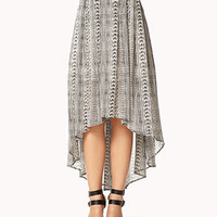 Striped Tribal Print High-Low Skirt