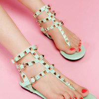Fashion Mint Green With Rivets Flat Sandals