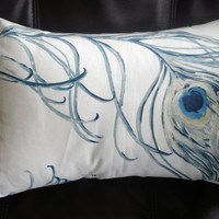 Lumbar pillow blue indigo peacock feather Throw cushion by VeeDubz