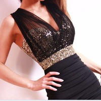 coolstyle — Sexy Slim Clubwear Bling Sequins voile backless Mini dress Bodycon Party elegant