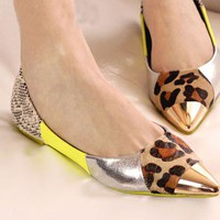 Chic Python Leopard Pointed-toe Flats with Metal Toecap - OASAP.com
