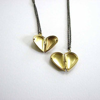 heart locket necklace set - half hearts open to full hearts - brass heart necklace set of 2