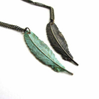 patina feather necklace - choose blackened feather or verdigris green feather unisex jewelry / mens feather necklace