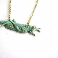 patience, grasshopper necklace - verdigris green patina brass bug jewelry
