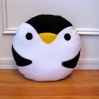 PENGUIN Pillow - Kawaii Cute PILLOW - animal fleece Penguin plush plushie soft face | HappiBoshi - Housewares on ArtFire