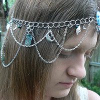 The moon the ocean and the mermaid head chain mermaid head chain siren abalone shells boho hipster belly dancer moon goddess headchain