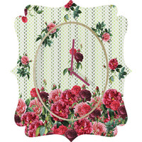 DENY Designs Home Accessories | Belle13 Vintage Rose Pattern Quatrefoil Clock