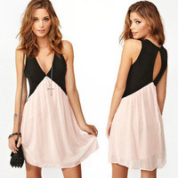 brilliant — Contrast color stitching on the back hollow out chiffon vest dress