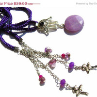 ON SALE 25% Long necklace. Pendant Necklace . Agade lariat necklace.  Purple crochet cord. Faset cut agade. Unique.