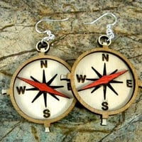 Compass Laser Cut Wood Earrings by GreenTreeJewelry on Etsy