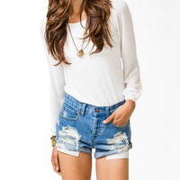 Chiffon-Sleeve Knit Top