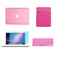 Amazon.com: TopCase 13-Inch Macbook White A1342/Latest 4-in-1 Bundle Rubberized Pink Hard Case Cover with Matching Color Soft Sleeve Bag ,Silicone Keyboard Cover,LCD HD Clear Screen Protector and TopCase Mouse Pad: Computers & Accessories