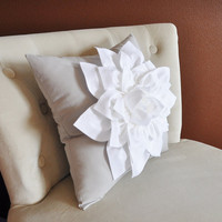 White Dahlia Flower on Light Gray Pillow Accent Pillow Throw Pillow Toss Pillow Decorative Pillow