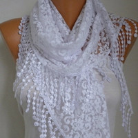 BIG SALE White Lace Scarf -  Shawl Scarf Women Scarves Cowl Scarf Bridesmaid Gift - fatwoman