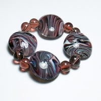 Purple Swirl Lampworked Glass Beaded Stretch Bracelet