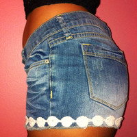 Jean Shorts with Lace Trim by AdoreLife on Etsy