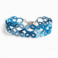 Tatted Turquoise Lace Bracelet - Lillian