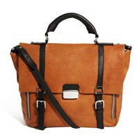 ASOS Leather Satchel Bag With Side Zip at asos.com