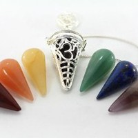 Amazon.com: Silver OM Cage Pendulum With Chakra Cones: Health & Personal Care