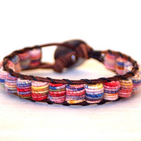 Boho Leather Bracelet, Shabby Chic, Fabric Textile Beads, MULTICOLOR