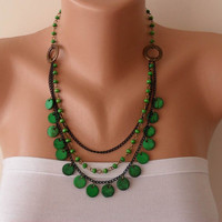 Green Necklace with Wooden Beads- Speacial Design