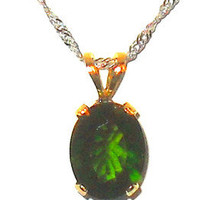 2.25ctw Russian Chrome Diopside Solitare Pendant 14k yellow gold