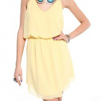 Final Sale - Double Strap Draped Chiffon Dress