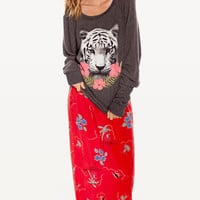 TROPICAL TIGER BAGGY BEACH JUMPER at Wildfox Couture in  -CLEAN WHITE, - CLEAN BLACK