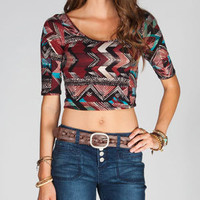 FULL TILT Ethnic Print Womens Crop Top