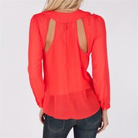 Dizzy Love Juniors Long Sleeve Sheer Blouse with Cutouts at Von Maur