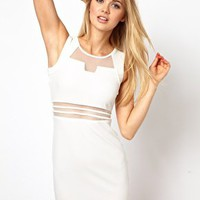 Arrogant Cat London Bodycon Mini Dress with Mesh Insert at asos.com
