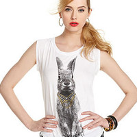 GUESS Top, Short-Sleeve Scoop-Neck Bunny-Print Tee - Tops - Women - Macy's